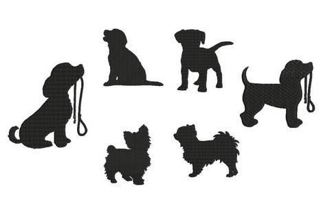 Stickdatei - Hunde Welpen Silhouette bei Makerist sofort runterladen