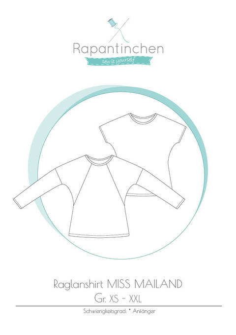 Ebook Raglanshirt MISS MAILAND mit Nähanleitung und Schnitt bei Makerist sofort runterladen