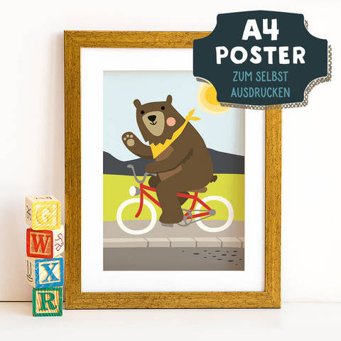 A4 Poster Bär im Frühling zum selbst Ausdrucken bei Makerist sofort runterladen