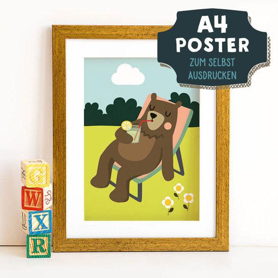 A4 Poster Bär im Sommer zum selbst Ausdrucken bei Makerist sofort runterladen