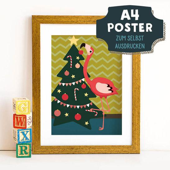 A4 Poster Flamingo im Winter zum selbst Ausdrucken bei Makerist sofort runterladen