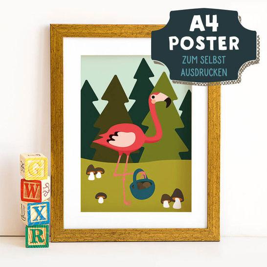 A4 Poster Flamingo im Herbst zum selbst Ausdrucken bei Makerist sofort runterladen