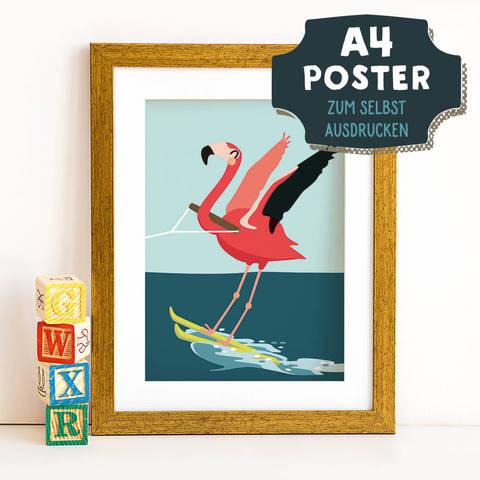 A4 Poster Flamingo im Sommer zum selbst Ausdrucken bei Makerist sofort runterladen