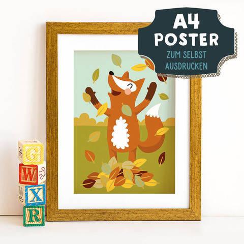 A4 Poster Fuchs im Herbst zum selbst Ausdrucken bei Makerist sofort runterladen