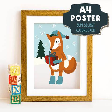 A4 Poster Fuchs im Winter zum selbst Ausdrucken bei Makerist sofort runterladen
