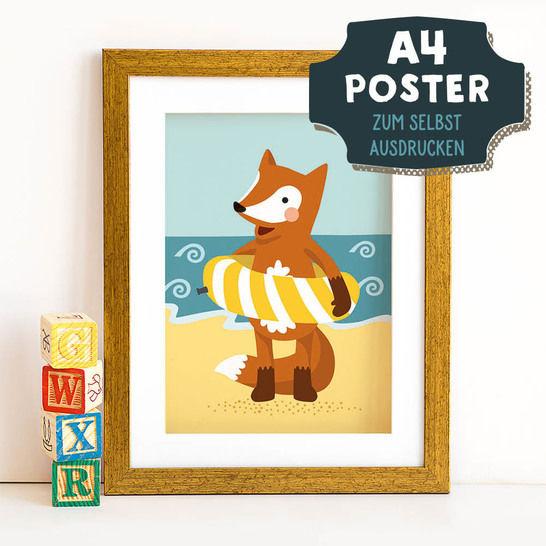 A4 Poster Fuchs im Sommer zum selbst Ausdrucken bei Makerist sofort runterladen