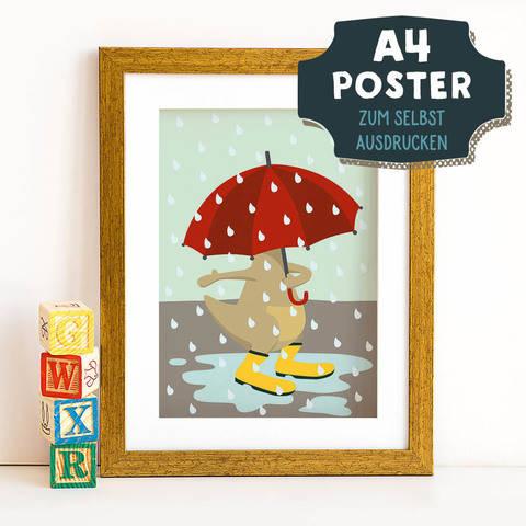 A4 Poster Känguru im Herbst zum selbst Ausdrucken bei Makerist sofort runterladen