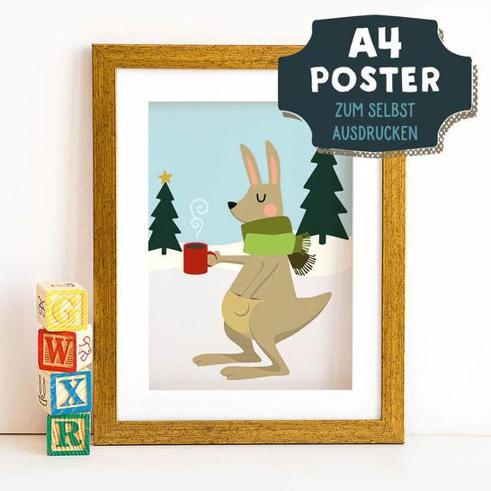 A4 Poster Känguru im Winter zum selbst Ausdrucken bei Makerist sofort runterladen