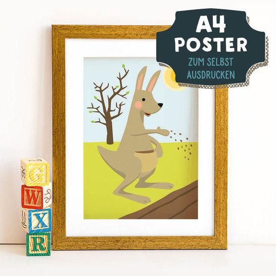 A4 Poster Känguru im Frühling zum selbst Ausdrucken bei Makerist sofort runterladen