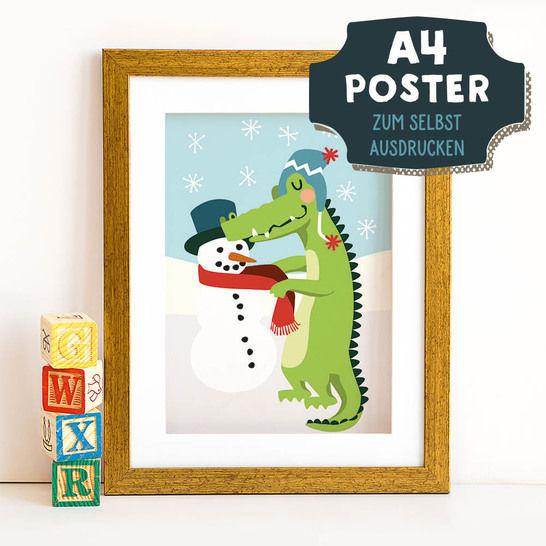 A4 Poster Krokodil im Winter zum selbst Ausdrucken bei Makerist sofort runterladen