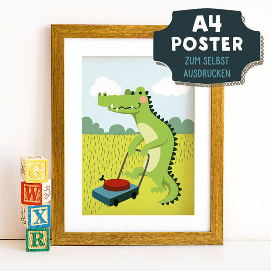 A4 Poster Krokodil im Frühling zum selbst Ausdrucken bei Makerist sofort runterladen