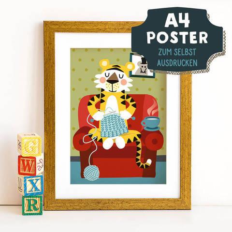 A4 Poster Tiger im Winter zum selbst Ausdrucken bei Makerist sofort runterladen