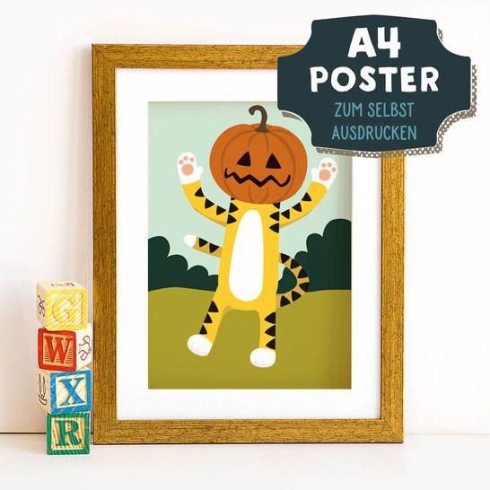 A4 Poster Tiger im Herbst zum selbst Ausdrucken bei Makerist sofort runterladen