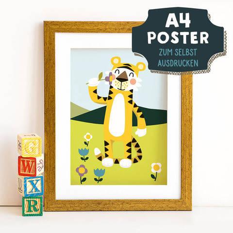 A4 Poster Tiger im Frühling zum selbst Ausdrucken bei Makerist sofort runterladen