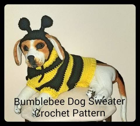 Download Bumblebee Dog Sweater and Hat Crochet Pattern immediately at Makerist
