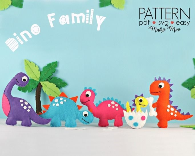 Download Felt Dinosaur Sewing Patterns | Dino Plush Pattern  immediately at Makerist