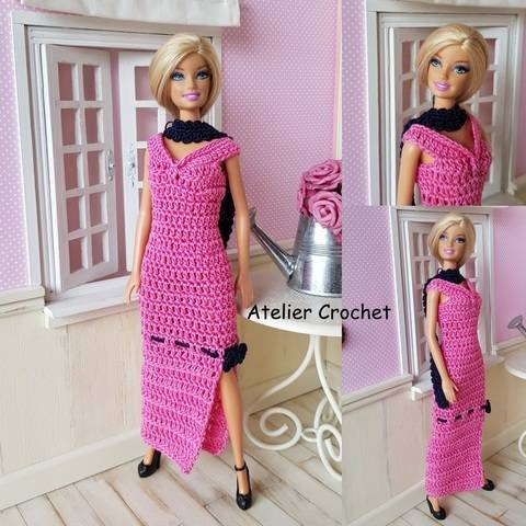 """Download """"Pink and Black"""" crochet pattern for Barbie immediately at Makerist"""
