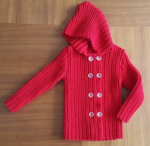 Download Child's double breasted jacket with hood - Paris immediately at Makerist