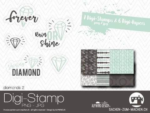 """Digi-Stamp """"diamonds #2"""" bei Makerist sofort runterladen"""