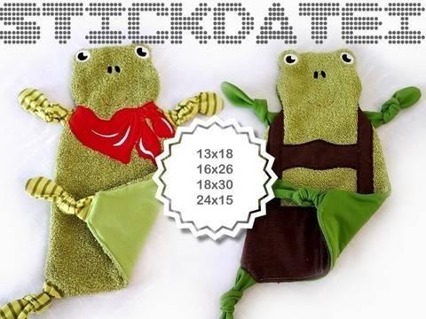 Schnuffeltuch Frosch ITH 13x18 16x26 18x30 15x24 bei Makerist