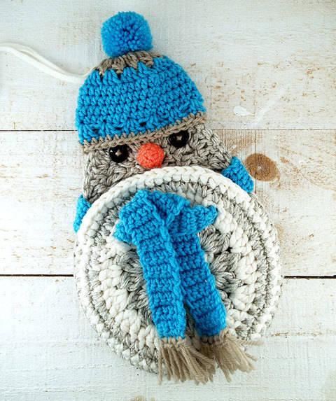 Häkelanleitung Winterspatz, Geschenktasche/Utensilo bei Makerist sofort runterladen