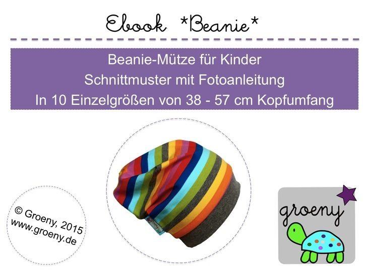 Ebook *Beanie* Mütze für Kinder 35-57 cm Kopfumfang - Nähanleitungen bei Makerist sofort runterladen