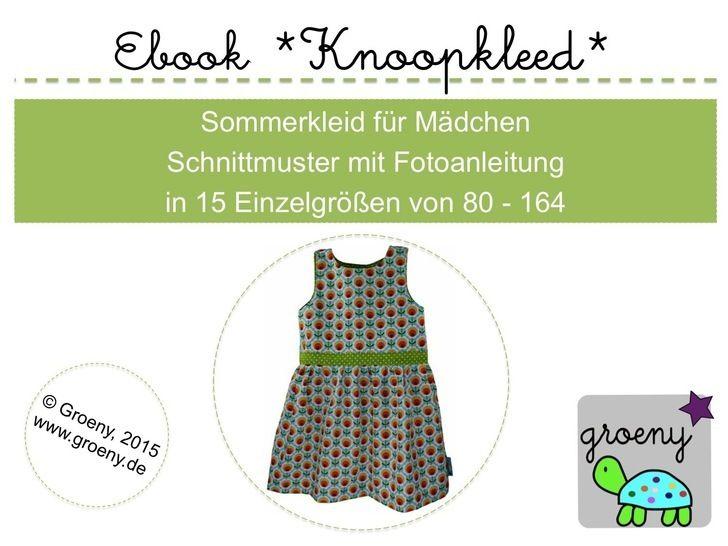 """Ebook *Knoopkleed"""" Mädchenkleid Größe 80-164 - Nähanleitungen bei Makerist sofort runterladen"""
