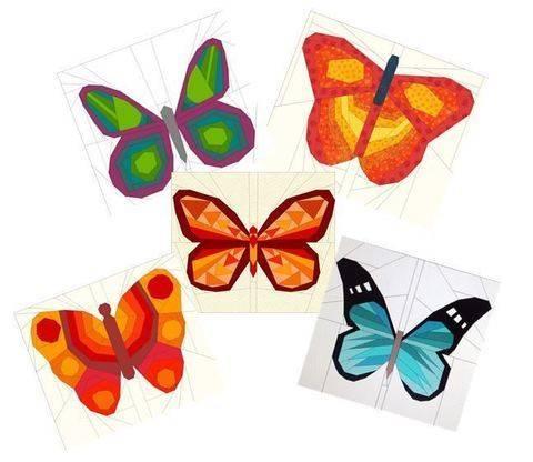 5 Schmetterlinge - Paper Piecing Vorlagen bei Makerist sofort runterladen