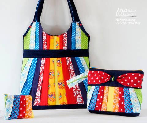 Taschenset: Schultertasche, Clutch und Geldbörse mit Plissee & Schleife bei Makerist sofort runterladen