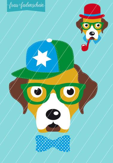 Applikation Hipster-Hund-Theo: Vorlage & Anleitung - Nähanleitungen bei Makerist sofort runterladen