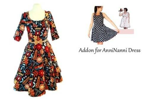 Download pdf sewing pattern Sleeve and Maxi-skirt Addon for AnniNanni Dress immediately at Makerist