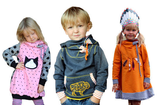 Download pdf sewing pattern kids hoody jumper and dress - AnniNanni Snugly Kid - Sewing Patterns immediately at Makerist