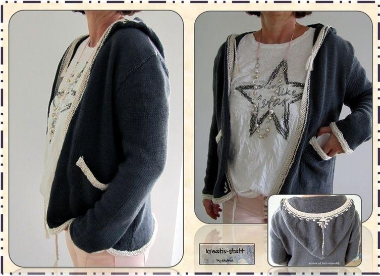 Kapuzen-Strick-Jacke mit Stickerei, Gr. 36 bis 50, Anleitung - Strickanleitungen bei Makerist sofort runterladen