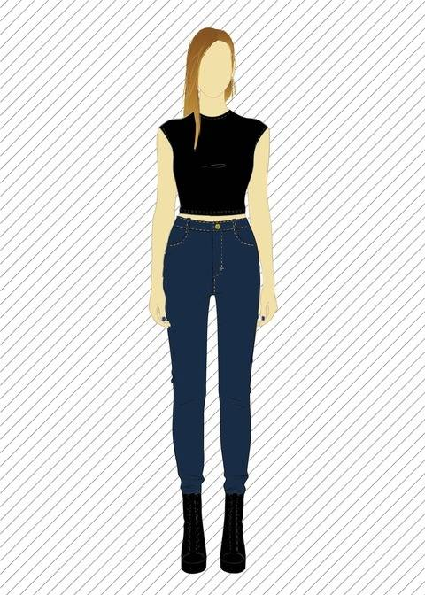 Download Skinny stretch jeans with high waist - XS-XL - sewing pattern immediately at Makerist