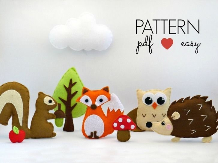 Download Woodland Creatures Set - Felt Sewing Patterns - Sewing Patterns immediately at Makerist