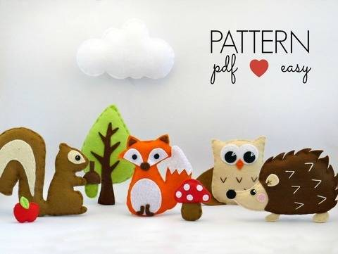 Download Woodland Creatures Set - Felt Sewing Patterns immediately at Makerist