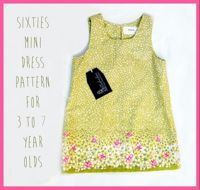 Easy 1960s Mini Shift Dress pdf Pattern for Girls age 3 to 7