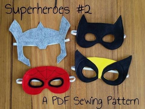 Download Superhero Masks - Spiderman, Thor, Wolverine and Batman Costumes immediately at Makerist