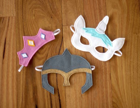 Download Fairytale Character Masks - Princess Tiara, Unicorn and Knight Helmet Costume immediately at Makerist