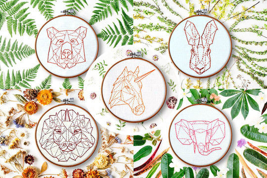 Download 5 geometric animals - Embroidery Patterns immediately at Makerist