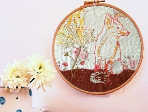 Download Fox and foxgloves woodland embroidery pattern - Embroidery Patterns immediately at Makerist
