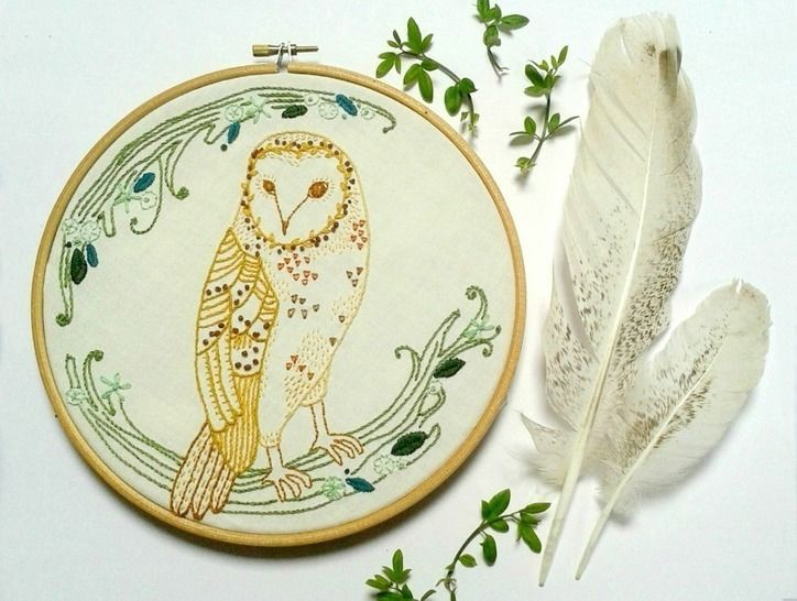 good Owl Embroidery Pattern Part - 18: Download Barn Owl Woodland Embroidery Pattern - Embroidery Patterns  immediately at Makerist