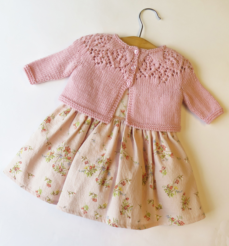 Knitted Cardigan Pattern For Toddler : Baby Cardigan Lace Knitting Pattern Top Down