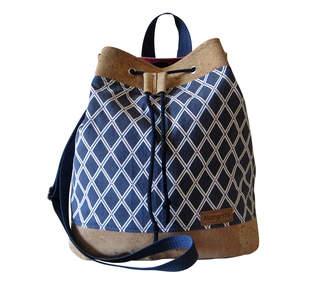 Makerist - Design Award Kork: Beuteltasche Canvas Blau & Weiß mit Korkleder - 1