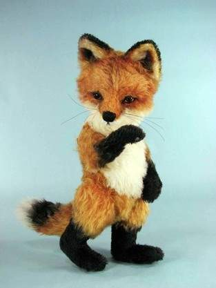"""Makerist - 12"""" Red Jamie Fox cub jointed, mohair collectible fox - 1"""