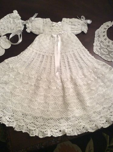 Baby Andrea Christening Gown Bonnet Bib And Mittons By Halina