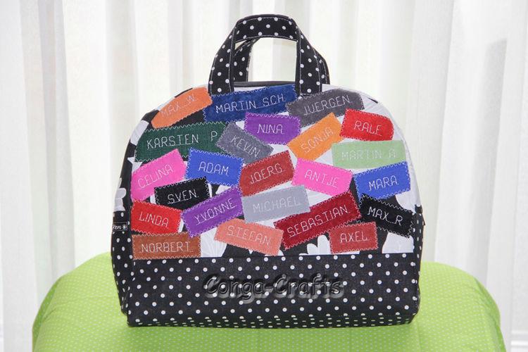 Makerist - Mini-Reisetasche mit Namen von Kollegen als Geldgeschenk - Nähprojekte - 2