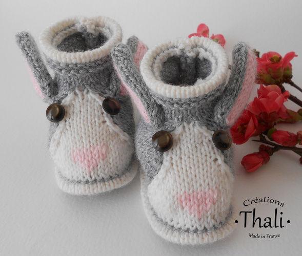 1b2e3b9a1524 Makerist - Chaussons lapin, pour bébé - Créations de tricot - 1 ...