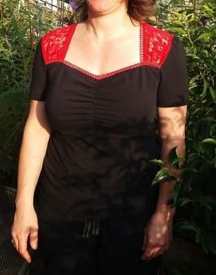 Makerist - Retro-Shirt aus Jersey und Spitze-Stoff - 1