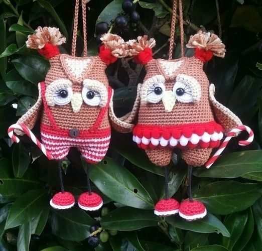 Makerist - Amigurumi Weihnachts Eulen Paar 15 cm Groß - Häkelprojekte - 1